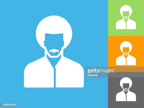Man's Face Portrait  Flat Icon on Blue Background
