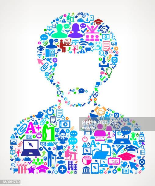 Man's Face Portrait  Modern Education and College Degree Icon Pattern