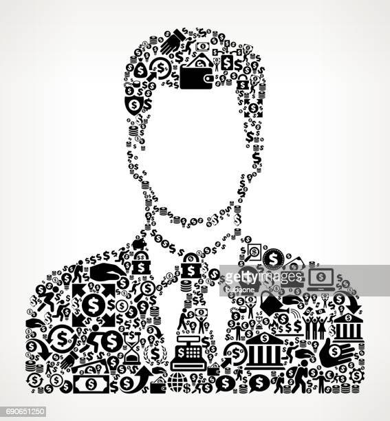 Man's Face Portrait Money and Finance Black and White Icon Background