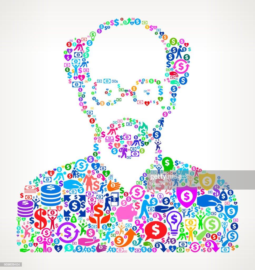 Mannes Gesicht Portrait Geld Symbol Vektormuster : Stock-Illustration