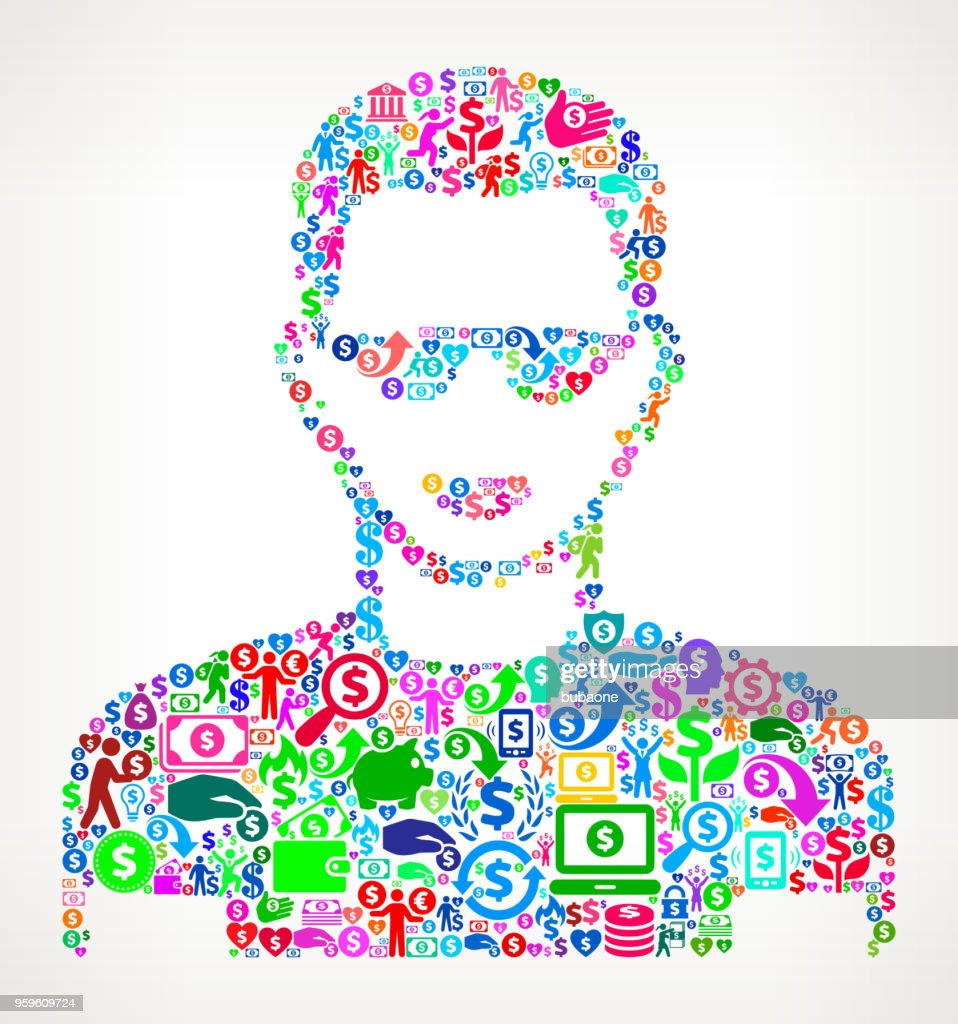 Man's Face Portrait  Money Vector Icon Pattern : Stock Illustration