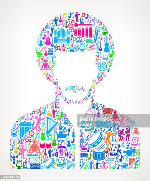 Man's Face Portrait  Music and Musical Celebration Vector Icon Background