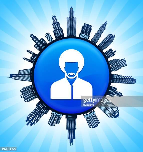 Man's Face Portrait  on Modern Cityscape Skyline Background