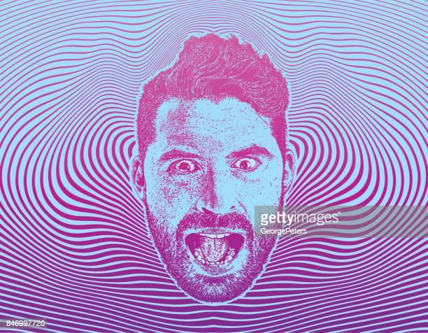 mans face with shocked expression and half tone pattern background - hysteria stock illustrations