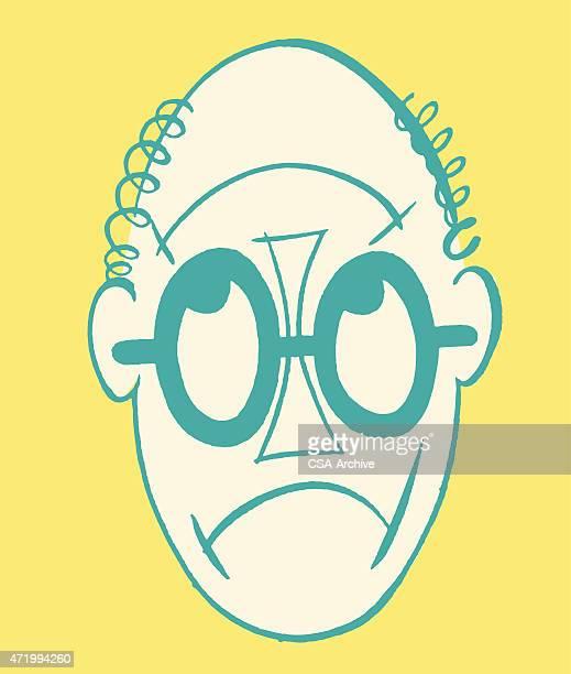 男性の顔はアップまたはダウン - 逆さ点のイラスト素材/クリップアート素材/マンガ素材/アイコン素材
