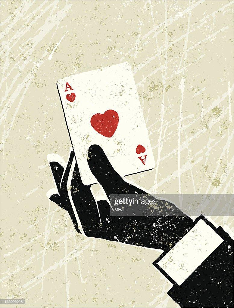 Mano di un uomo con Asso di Cuori carta da gioco : Illustrazione stock