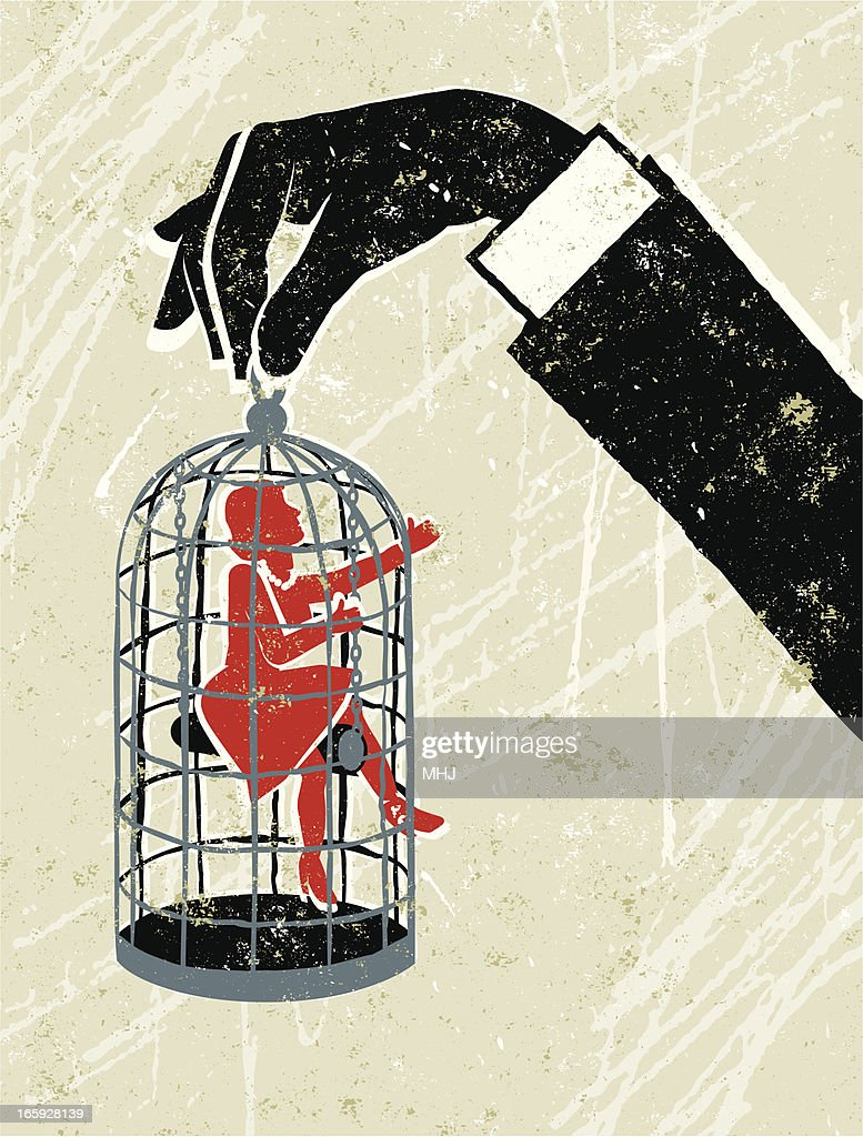 Man's Hand Holding Little Woman Trapped in a Birdcage