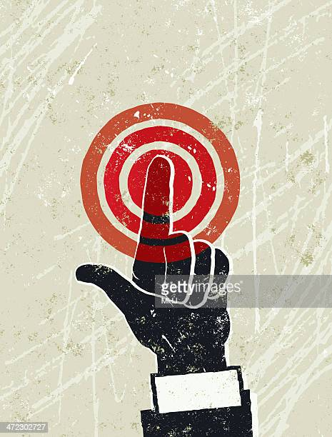 man's hand pushing a red button - silk screen stock illustrations