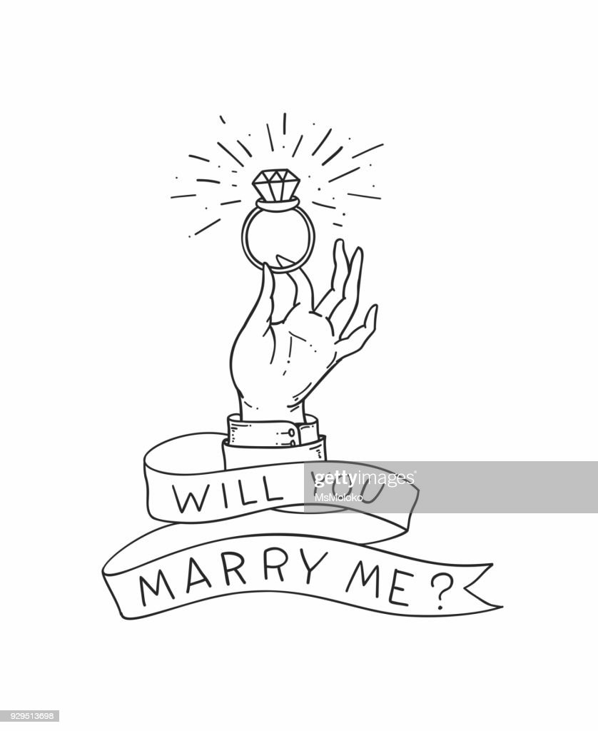 Man's hand with a wedding ring with a diamond. n offer of marriage illustration in old school tattoo style. Vector illustration