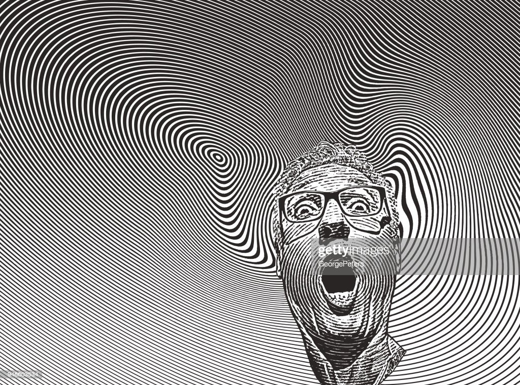 Mans head with shocked facial expression and halftone pattern : stock illustration