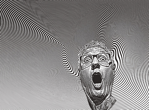 Mans head with shocked facial expression and halftone pattern - gettyimageskorea