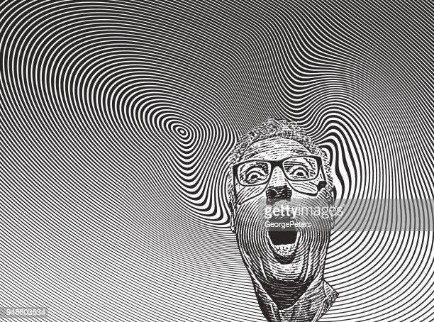 mans head with shocked facial expression and halftone pattern - spinning stock illustrations