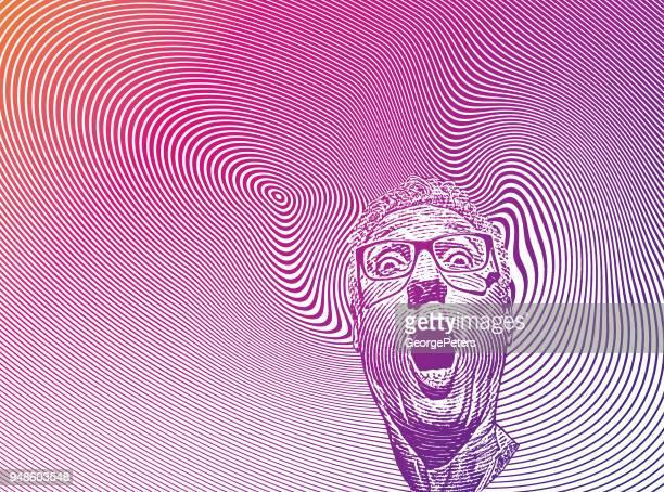 Mans Kopf mit schockiert Gesichts Ausdruck und Halbton-Muster