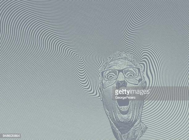 Mans head with shocked facial expression and halftone pattern