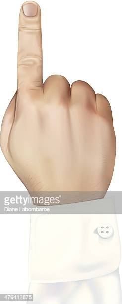 Man's Right Hand with Index Finger Pointing Up