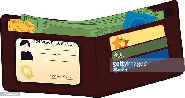 man's wallet - condom stock illustrations