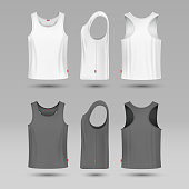Mans white blank tank singlet. Male shirt without sleeves vector template