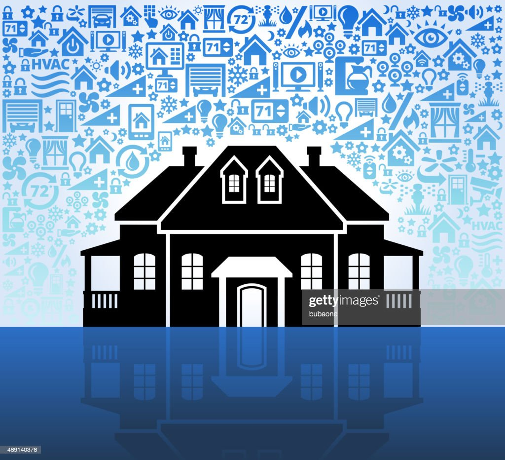 mansion on Home Automation and Security Vector Background