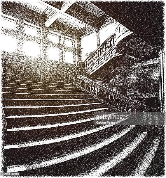 大階段 - エッチング点のイラスト素材/クリップアート素材/マンガ素材/アイコン素材