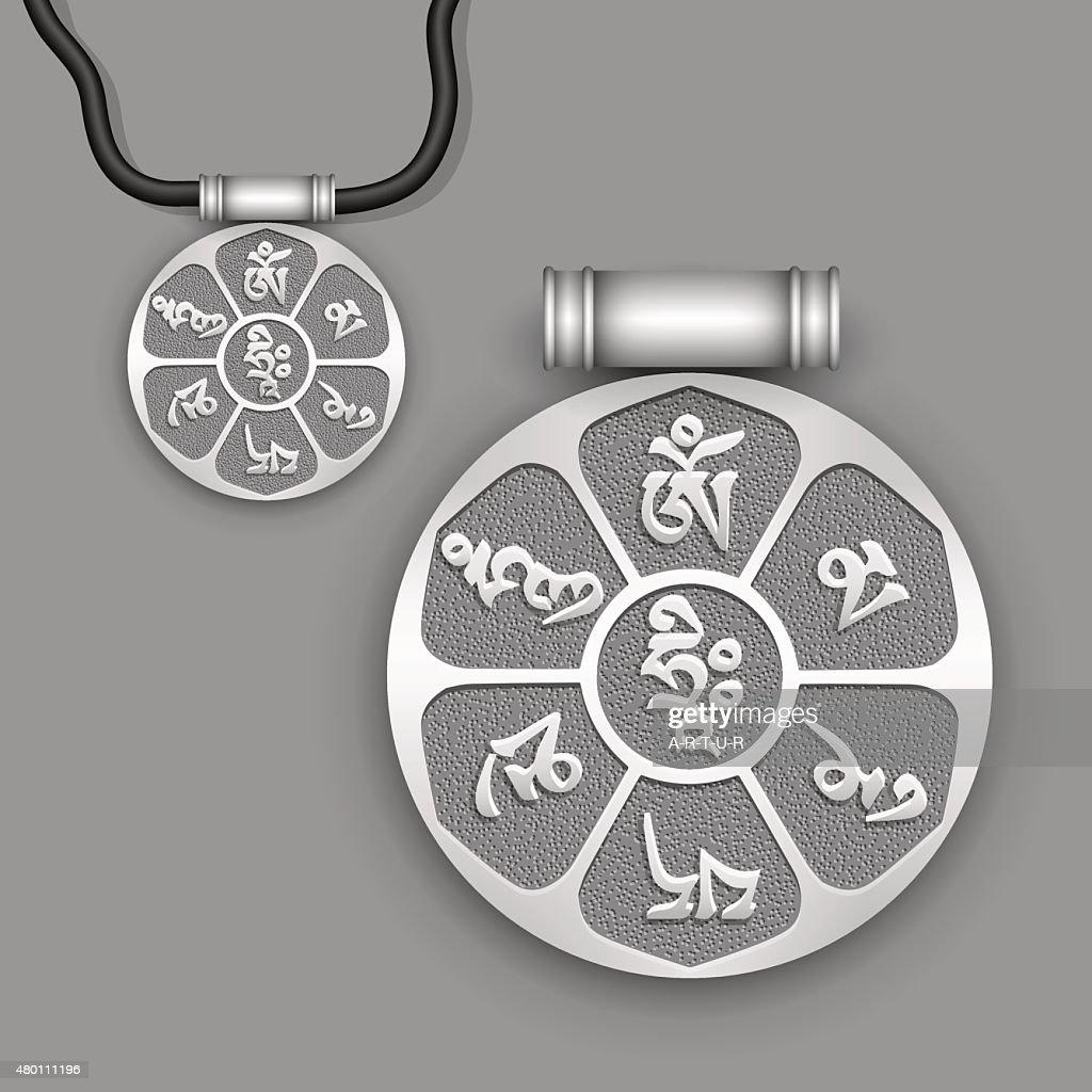 Mantra 'Om Mani Padme Hum' on silver pendant