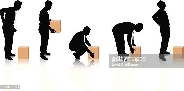 manual handling - bending stock illustrations