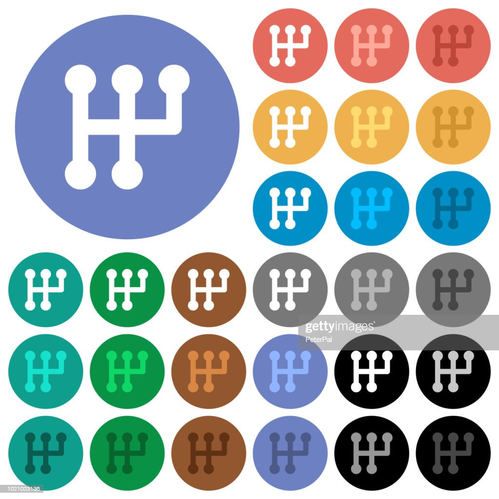 Manual shift round flat multi colored icons