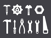 Manual tools and instruments set, white isolated icons on dark bacground