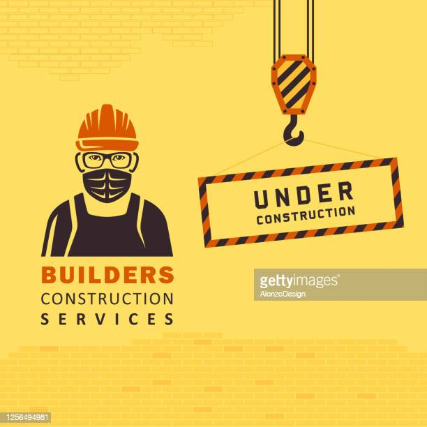 manual worker with surgical mask. construction logo. coronavirus. - pathogen transmission stock illustrations