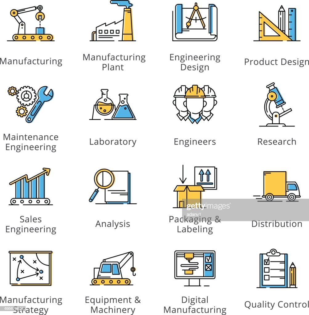 Manufacturing Engineering Icons - Outline Series