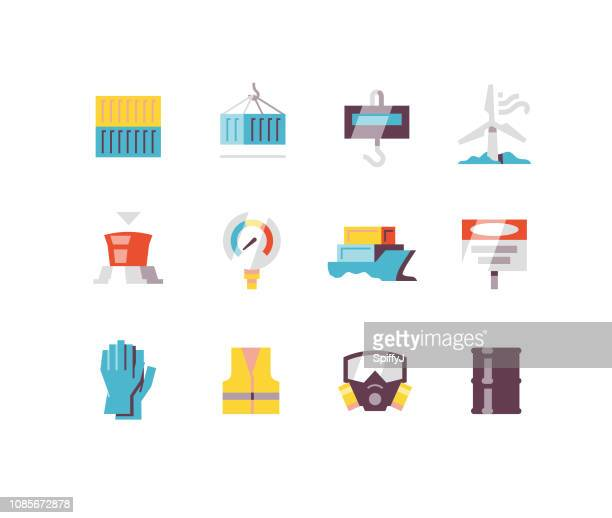 manufacturing flat icons series 1 - drum container stock illustrations