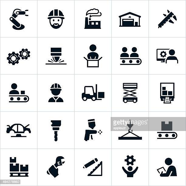 manufacturing icons - machine part stock illustrations