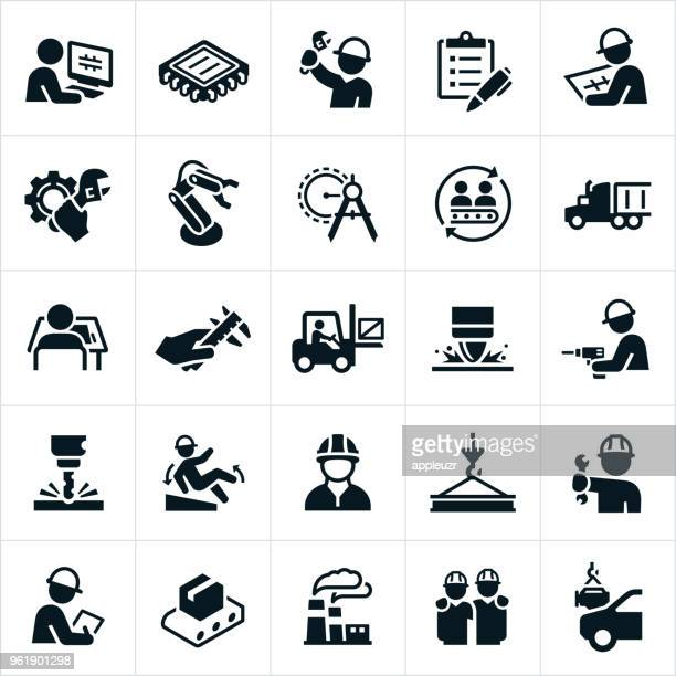 manufacturing icons - occupational safety and health stock illustrations, clip art, cartoons, & icons