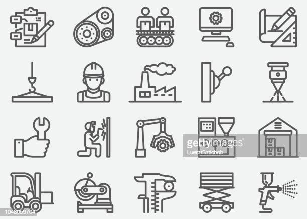 manufacturing line icons - machine part stock illustrations