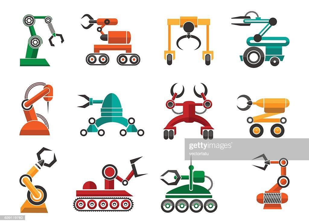 Manufacturing robotic auto hands icons