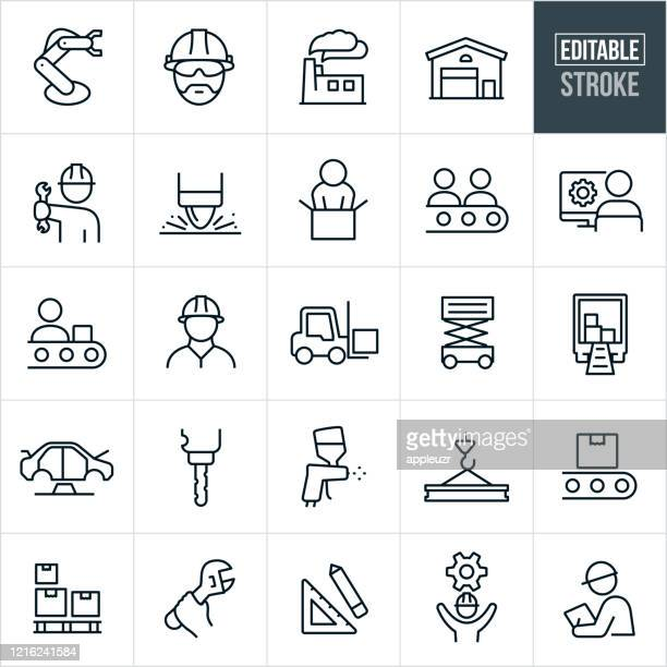 manufacturing thin line icons - editable stroke - plant stock illustrations