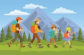 man,woman, children, family hikers traveling trekking with backpacks in mountains forest cartoon vector illustration
