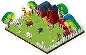 Many animals on the farm in 3D design