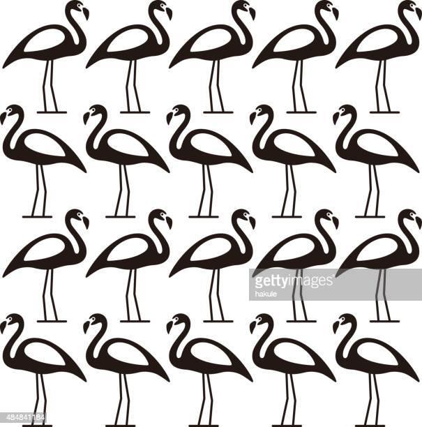ilustraciones, imágenes clip art, dibujos animados e iconos de stock de muchos negro de pie, serie pájaro flamingo - grupo grande de animales