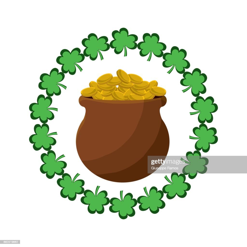 many coins inside of flowerpot and clovers