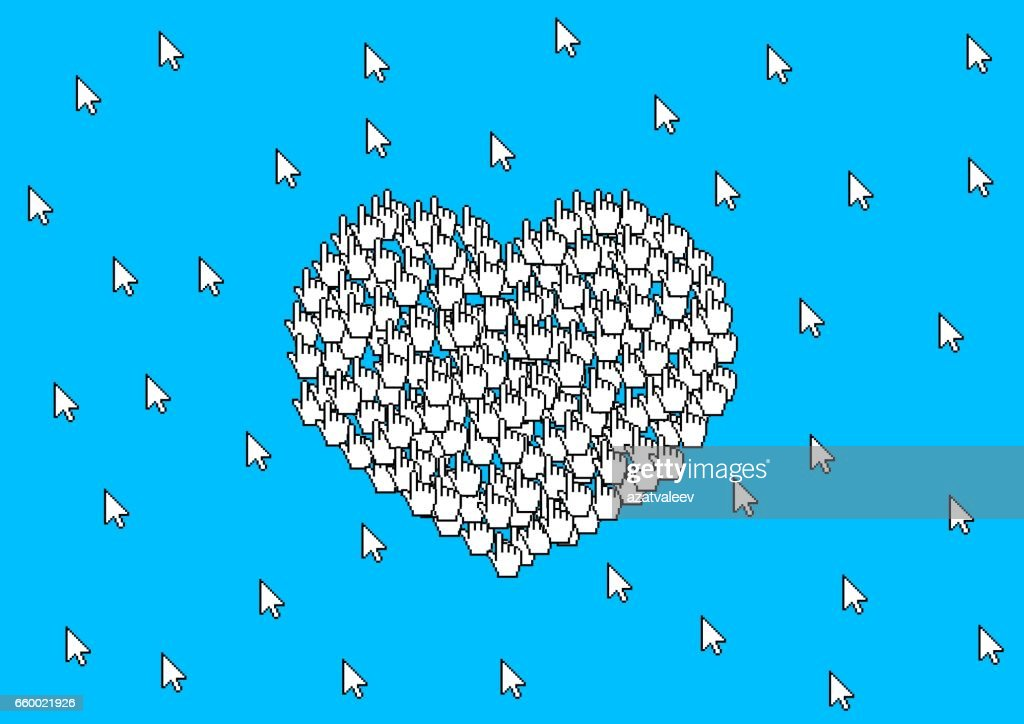Many Cursors Form Sign Of Heart Symbol Of Love Vector Art Getty Images