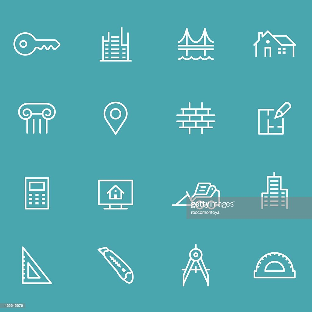 Many different architecture icons on a green background
