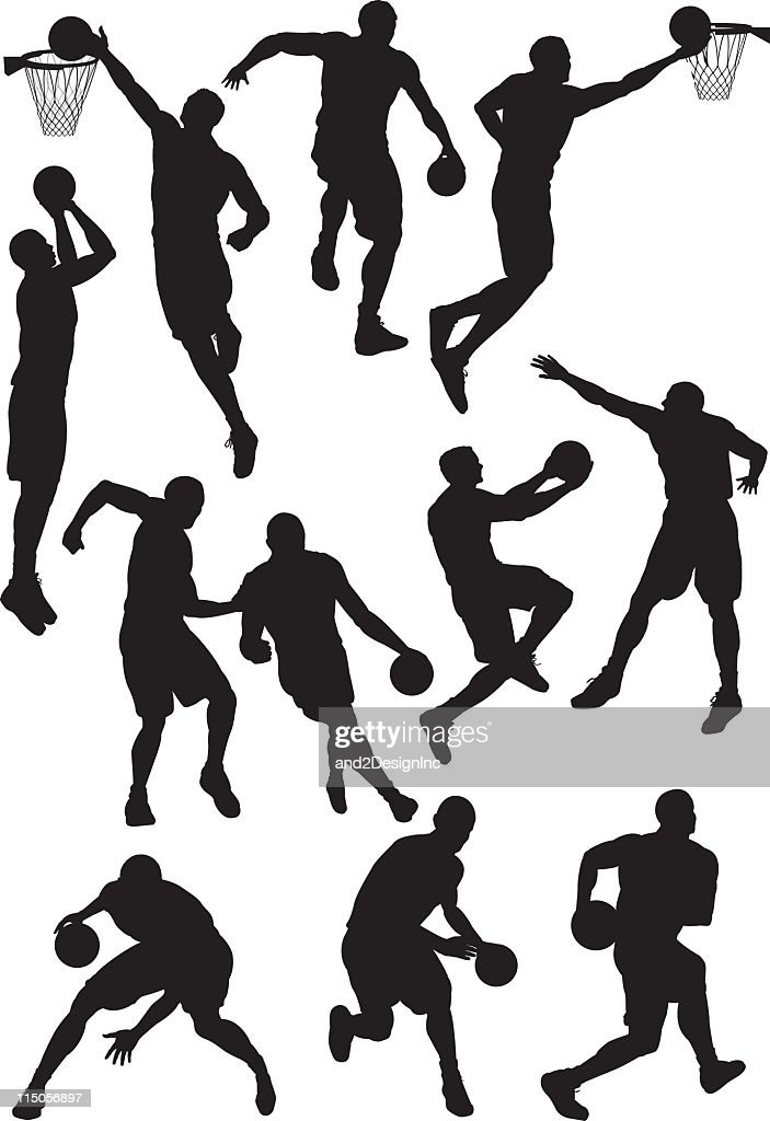 Many different basketball silhouettes