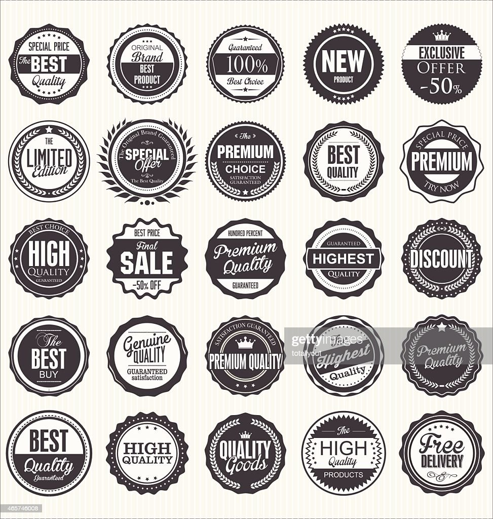 Many different black-and-white retro quality badges