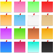 Many different colors of Post-It Notes
