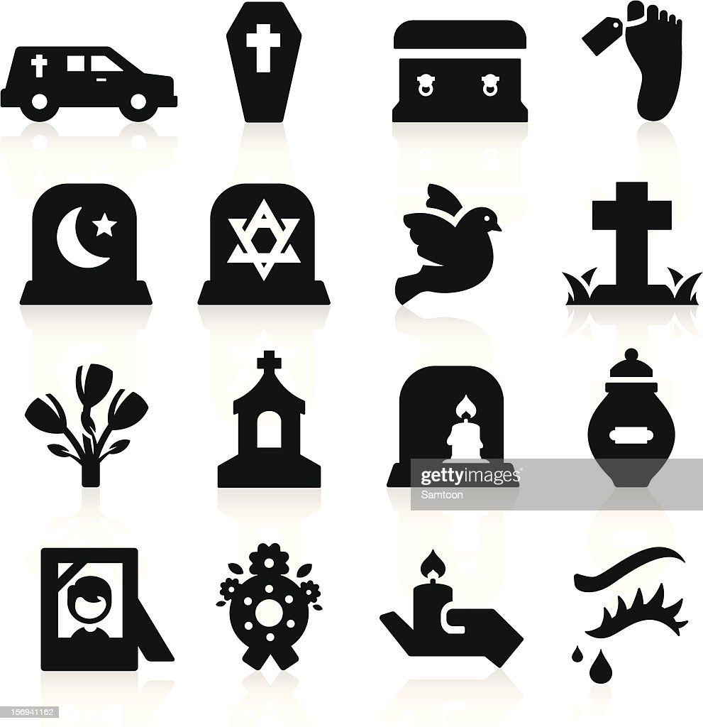 Many different funeral computer icons