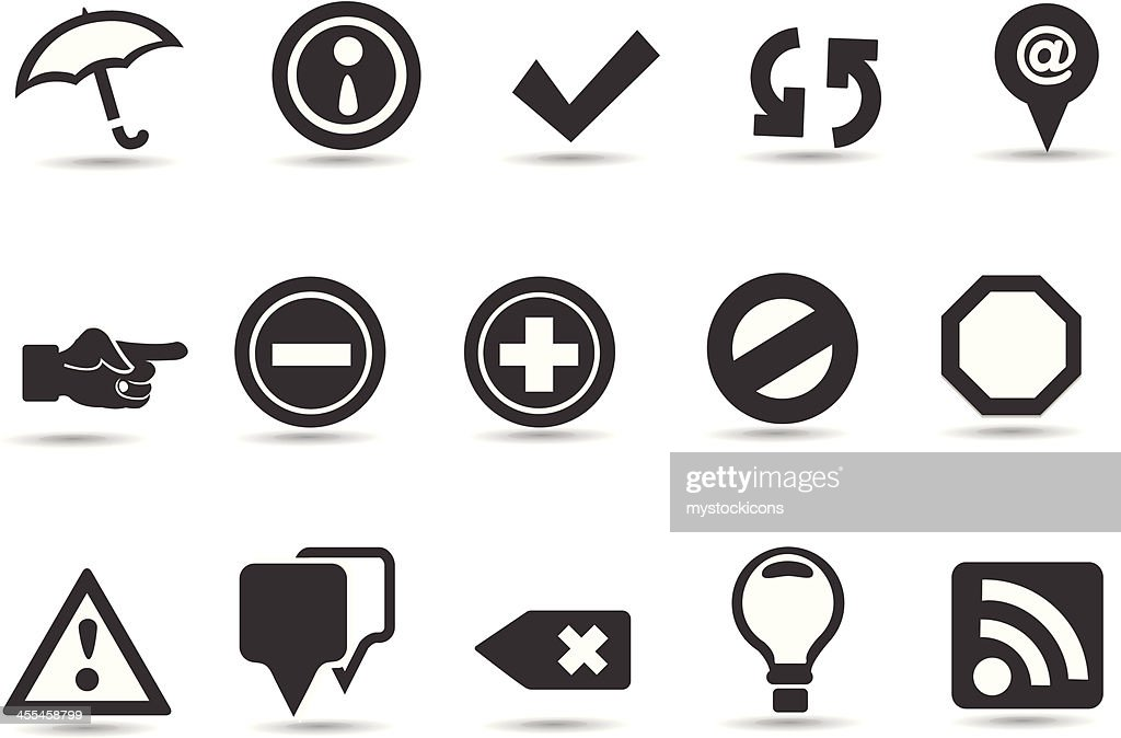 Many different icons and web buttons