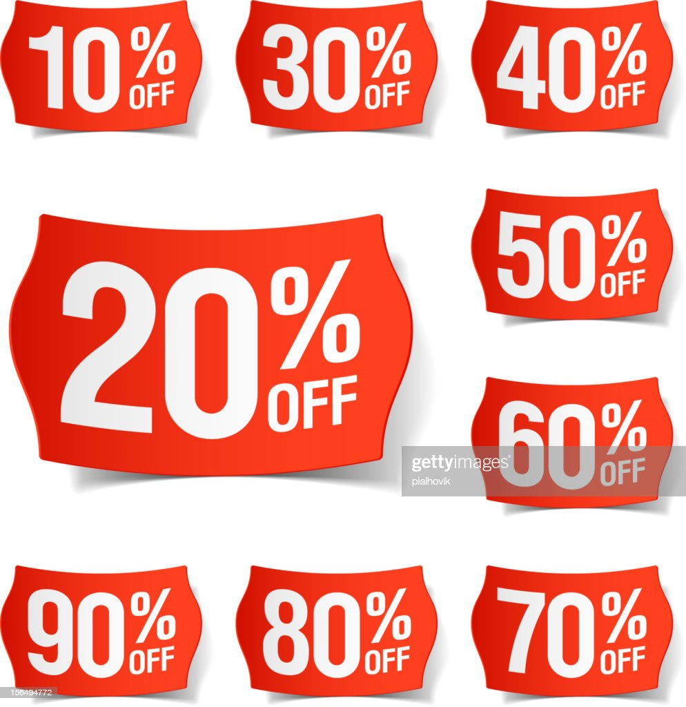 Many different price discount tags