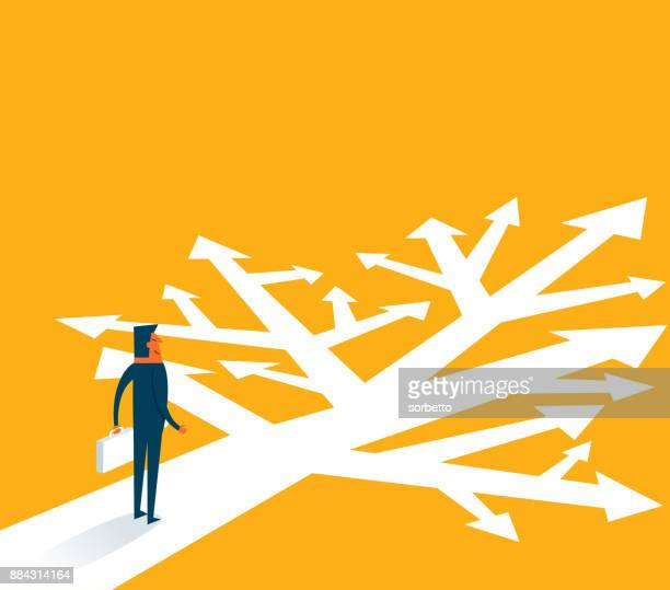 many directions - businessman - choice stock illustrations