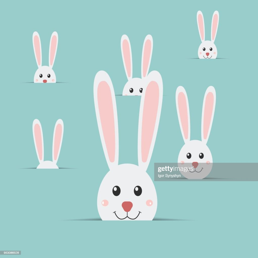 Many easter rabbits isolated on blue background.. Easter Bunny. Happy Easter card. Vector illustration.