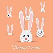 Many easter rabbits with text Happy Easter isolated on blue background.. Easter Bunny card. Vector illustration.
